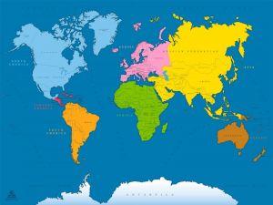 158-Mapa Mundi Color 120x90cm Azul