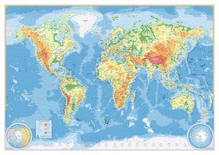154 Mapa-Múndi Mar Azul Físico