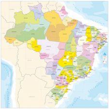 Ref.383 Brasil Mesorregiões Geográficas Quadro 2,25X2,25m,
